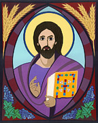 Catholic Art Painting Originals - Christ Pantokrator Icon by David Raber