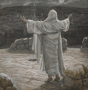 Bible Painting Prints - Christ Retreats to the Mountain at Night Print by Tissot
