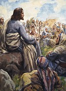 Bible Painting Prints - Christ Teaching Print by English School