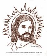 The Christ Ink Drawing Framed Prints - Christ the Savior Framed Print by Norma Boeckler