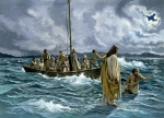 Fishing   Framed Prints - Christ walking on the Sea of Galilee Framed Print by Anonymous