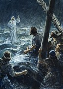Bible Painting Prints - Christ walking on the sea of Galilee Print by Henry Coller