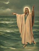 Calm Waters Posters - Christ walking on the sea Poster by Philip Richard Morris