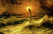 Water Painting Posters - Christ Walking On The Waters Poster by Christ Images