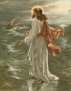 Calm Waters Posters - Christ Walking on The Waters Poster by John Lawson