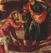 Foot Paintings - Christ Washing the Feet of the Disciples by Tintoretto