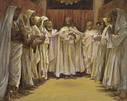 Father Paintings - Christ with the twelve Apostles by Tissot