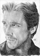 Parchment Drawings Prints - Christian Bale Print by Bianca Ferrando