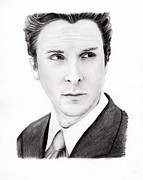 Christian Drawings Framed Prints - Christian Bale Framed Print by Rosalinda Markle