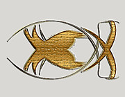 Christian Symbol Prints - Christian Fish Print by Carolyn Marshall