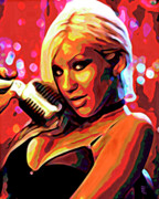 Microphone Digital Art Prints - Christina Aguilera Print by Byron Fli Walker