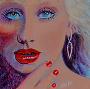 Neon Effects Painting Originals - Christina Aguilera by Shirl Theis