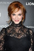 Updo Photo Acrylic Prints - Christina Hendricks Wearing A Dolce & Acrylic Print by Everett
