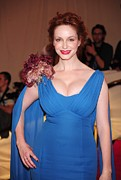 Chiffon Framed Prints - Christina Hendricks  Wearing A Dress Framed Print by Everett