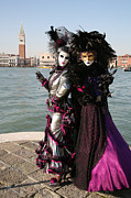 Venice Masks Prints - Christine and Gunilla Across St. Marks  Print by Donna Corless