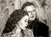 Theatre Drawings - Christine and the Phantom of the Opera by Maren Jeskanen