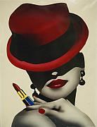 Moody Paintings - Christion Dior Red Hat Lady by Jacqueline Athmann