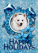 Christmas - Blue Snowflakes American Eskimo Print by Renae Laughner