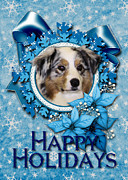 Aussie Digital Art - Christmas - Blue Snowflakes Australian Shepherd by Renae Frankz