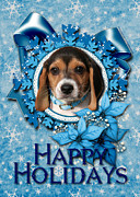 Puppies Digital Art - Christmas - Blue Snowflakes Beagle Puppy by Renae Frankz