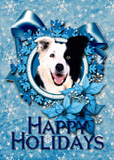 Collie Digital Art Posters - Christmas - Blue Snowflakes Border Collie Poster by Renae Frankz