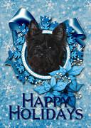 Christmas - Blue Snowflakes Cairn Terrier Print by Renae Laughner