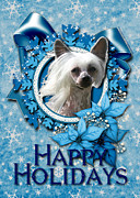 Hairless Digital Art Posters - Christmas - Blue Snowflakes Chinese Crested Poster by Renae Frankz