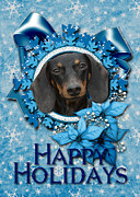 Dachshund Digital Art Framed Prints - Christmas - Blue Snowflakes Dachshund Framed Print by Renae Frankz
