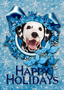 Christmas Dogs Digital Art Prints - Christmas - Blue Snowflakes Dalmatian Print by Renae Frankz