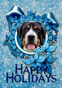 Greater Swiss Mountain Dog Prints - Christmas - Blue Snowflakes Greater Swiss Mountain Dog Print by Renae Frankz
