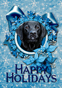 Labradors Digital Art Framed Prints - Christmas - Blue Snowflakes Labrador Framed Print by Renae Frankz