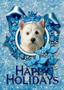 Westies Prints - Christmas - Blue Snowflakes West Highland Terrier Print by Renae Frankz