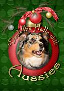 Aussie Digital Art - Christmas - Deck the Halls with Aussies by Renae Frankz