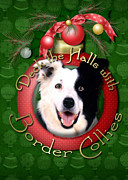 Collies Digital Art Posters - Christmas - Deck the Halls with Border Collies Poster by Renae Frankz