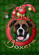 Boxer Digital Art Prints - Christmas - Deck the Halls with Boxers Print by Renae Frankz