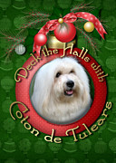Coton De Tulear Framed Prints - Christmas - Deck the Halls with Coton de Tulears Framed Print by Renae Frankz