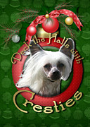 Christmas Dogs Prints - Christmas - Deck the Halls with Cresties Print by Renae Frankz