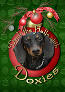 Dachshunds Doxie Digital Art - Christmas - Deck the Halls with Doxies by Renae Frankz