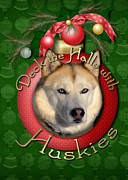Huskies Digital Art Posters - Christmas - Deck the Halls with Huskies Poster by Renae Frankz