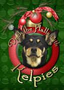 Kelpies Framed Prints - Christmas - Deck the Halls with Kelpies Framed Print by Renae Frankz
