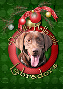 Chocolate Lab Digital Art Prints - Christmas - Deck the Halls with Labrador s Print by Renae Frankz