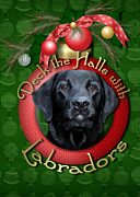 Labradors Digital Art Framed Prints - Christmas - Deck the Halls with Labradors Framed Print by Renae Frankz