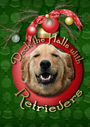 Retrievers Digital Art Metal Prints - Christmas - Deck the Halls with Retrievers Metal Print by Renae Frankz