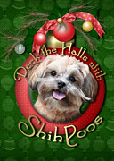 Shih Tzu-poodle Prints - Christmas - Deck the Halls with ShihPoos Print by Renae Frankz