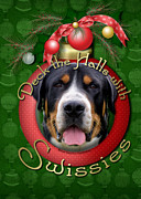 Greater Swiss Mountain Dog Prints - Christmas - Deck the Halls with Swissies Print by Renae Frankz