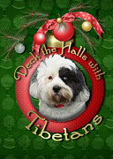Christmas Dogs Digital Art Prints - Christmas - Deck the Halls with Tibetans Print by Renae Frankz