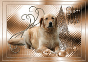 Retrievers Digital Art Metal Prints - Christmas - Silent Night - Golden Retriever Metal Print by Renae Frankz