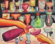 Champagne Paintings - Christmas 97 by Suzanne  Marie Leclair