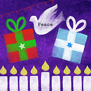 Folk Art Mixed Media Posters - Christmas and Hanukkah Peace Poster by Linda Woods