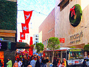 Stockton Street Framed Prints - Christmas at Macys in San Francisco . Photoart Framed Print by Wingsdomain Art and Photography